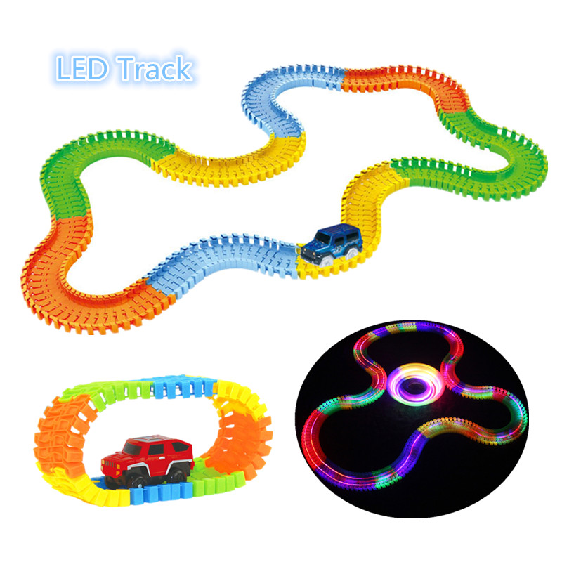 Glowing Race Car Twister Pista DIY LED Lampeggiante Luce di Inseguimento Ferrovia ferroviario Glow in The Dark Flessibile per Mini Auto bambini