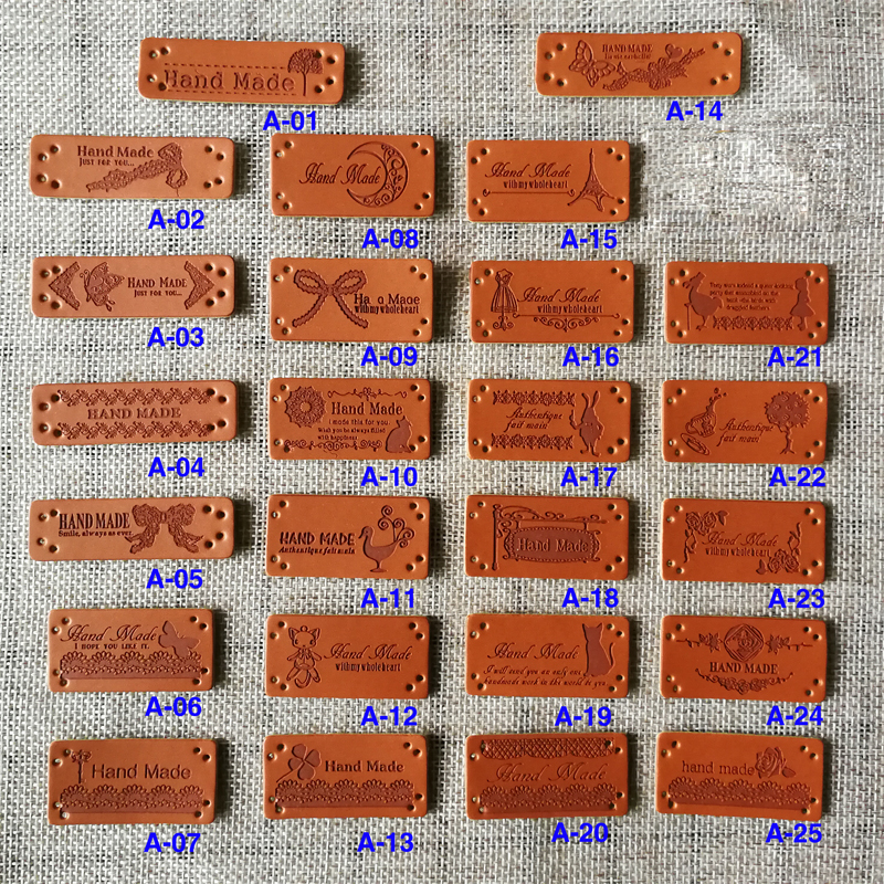 20 Pcs Hand Made Labels PU Leather Tags On Clothes GarmentLabels For DIY Jeans Bags Shoes Sewing Accessories