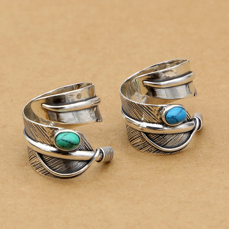 Goros Ring 925 Sterling Silver Goro's Ring Blue Green Stone Turquoise Classic Feathers Ring For Women Men Party GQR023