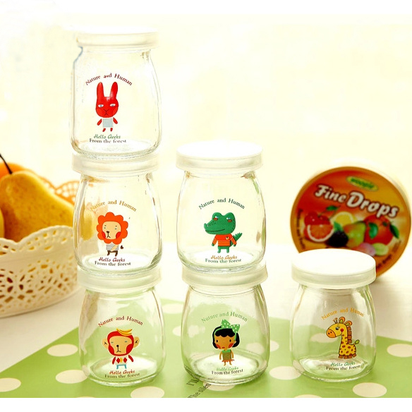 Cartoon Milk Cup Glass Sealed Jars And Lids Storage Bottle Food Candy Storage Tea Container Caning Sealing Violetta Mason Jars