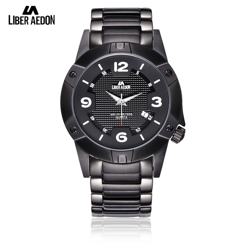 Liber Aedon Men Watches Top Brand Luxury stainless steel Watchband and Case Quartz Analog Watch Waterproof Sport Wristwatches rosivga luxury quartz watch with analog indicate steel watchband for men