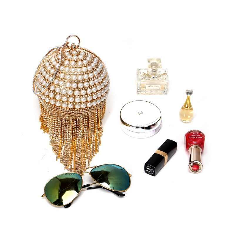 SEKUSA бисером женские свадебные клатчи с круговой кисточкой вечерние сумки со стразами цепочка на плечо жемчужные сумки кошелек