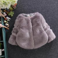 Autumn Winter Baby Girls Faux Fur Coat Furry Warm Jacket Snowsuit Outerwear Children Kids Clothes Fake Fur Overcoat Coat Y16