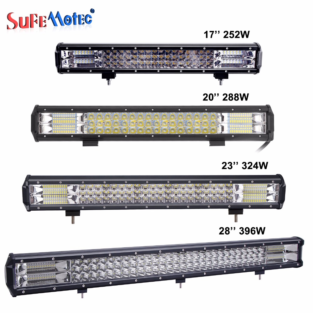 17 20 23 28 252W 288W 324W 396W Tri-Row LED Light Bar Combo Beam For Offroad Work Light 4WD 4x4 Drive LED Bar Camper Trailer 288w 50 curved led light bar with rgb halo ring combo led work light offroad led bar truckatv 4x4 4wd 12v ute working foglights