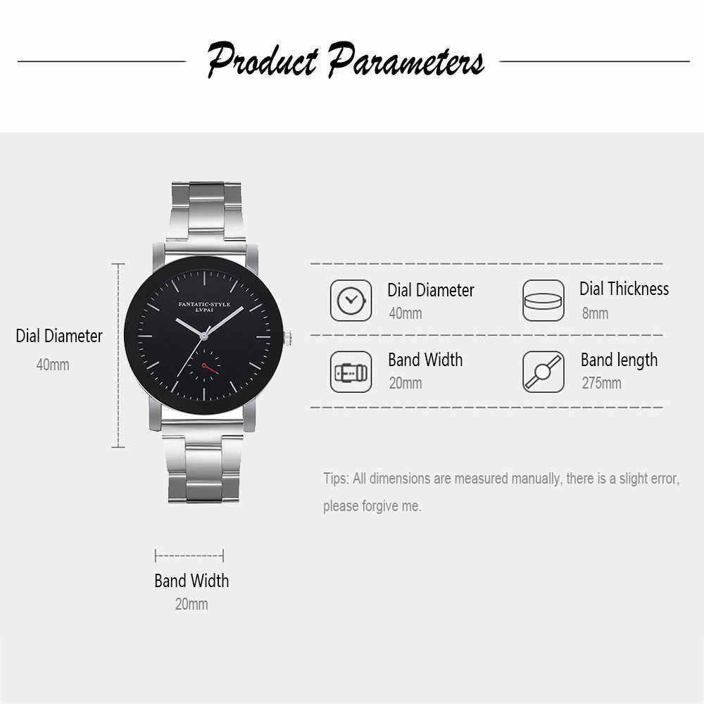 Lvpai מקרית קוורץ פלדת חגורת שעון אנלוגי שעון יד derss mens שעונים למעלה מותג יוקרה יוקרה שעון נשים נירוסטה
