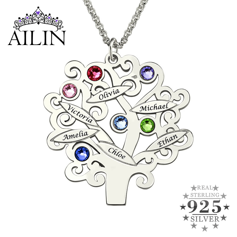 купить Wholesale Sterling Silver Family Tree Necklace Mother's Necklace with Birthstone Grandmas Gift Family Tree Name Necklace недорого