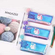TOPSTHINK Children unicorn colorful film pencil pouch school stationery cute pompom clear pencil case iridescence clear pencil case