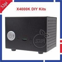 X4000K Kits DIY HIFI Áudio Mini PC Kit Placa de Expansão com Caixa de metal e 5 V 4A Adaptador de Alimentação para Raspberry Pi Modelo 3/2 B/B +