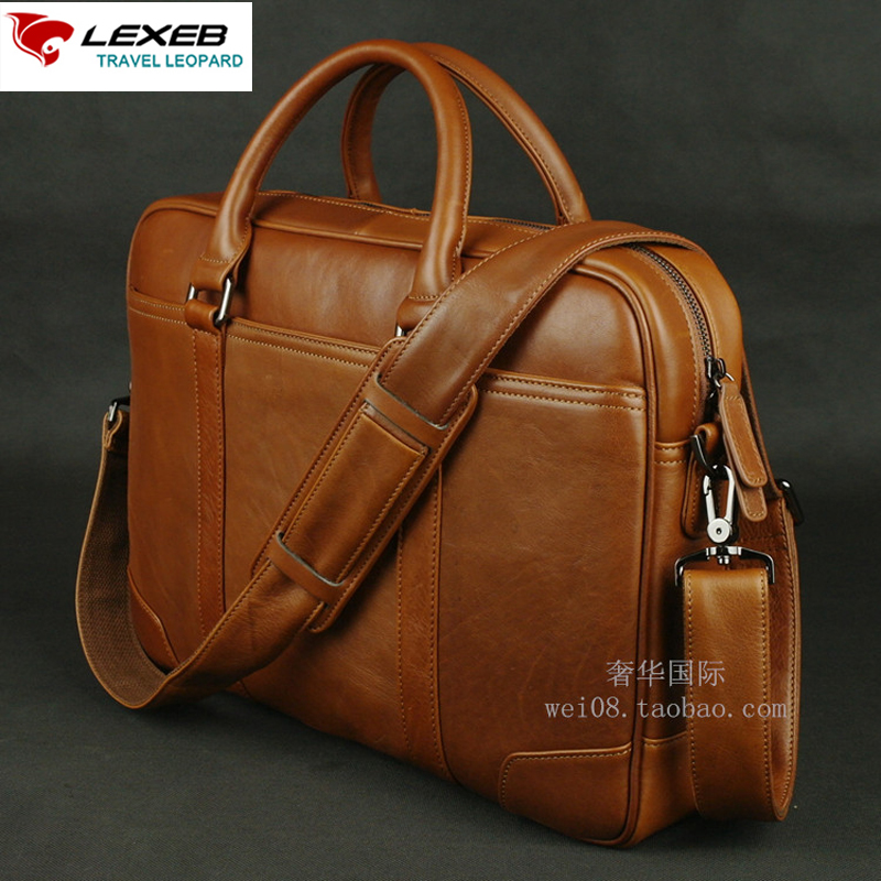 LEXEB Solid Brown Leather Men s Briefcase For 15 Inches font b Laptop b font Classic