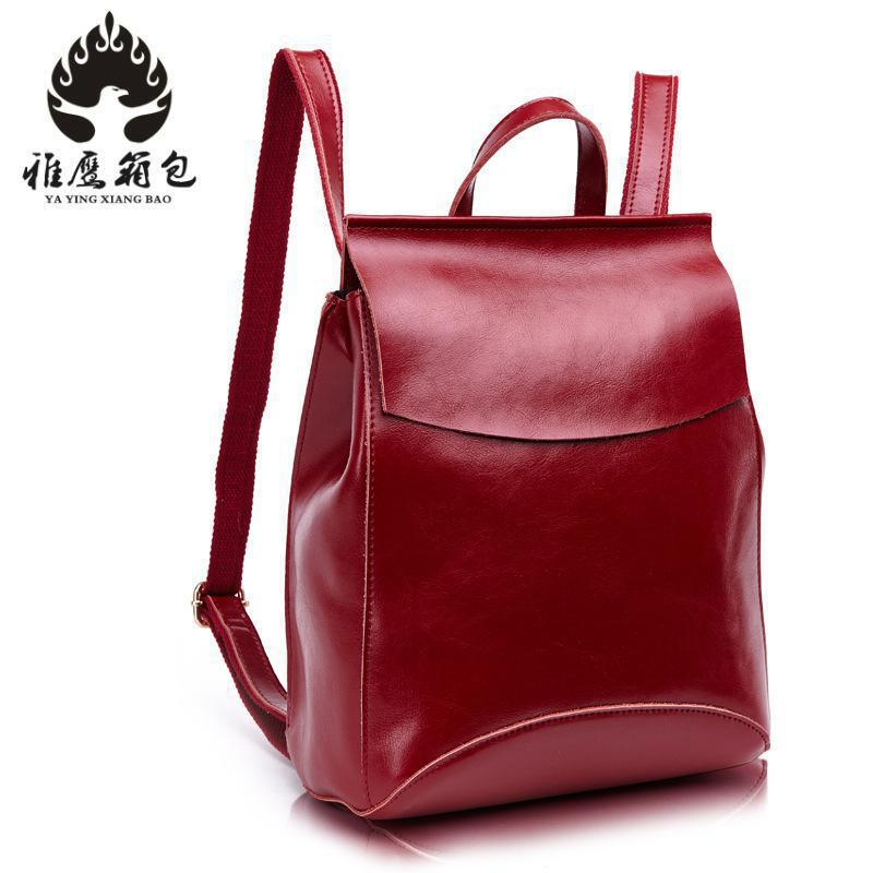 Fashion Designer Women Genuine Leather Backpack Shoulder School Bags For Teenagers Travel Oil Wax Cow Female Knapsack Back Bag