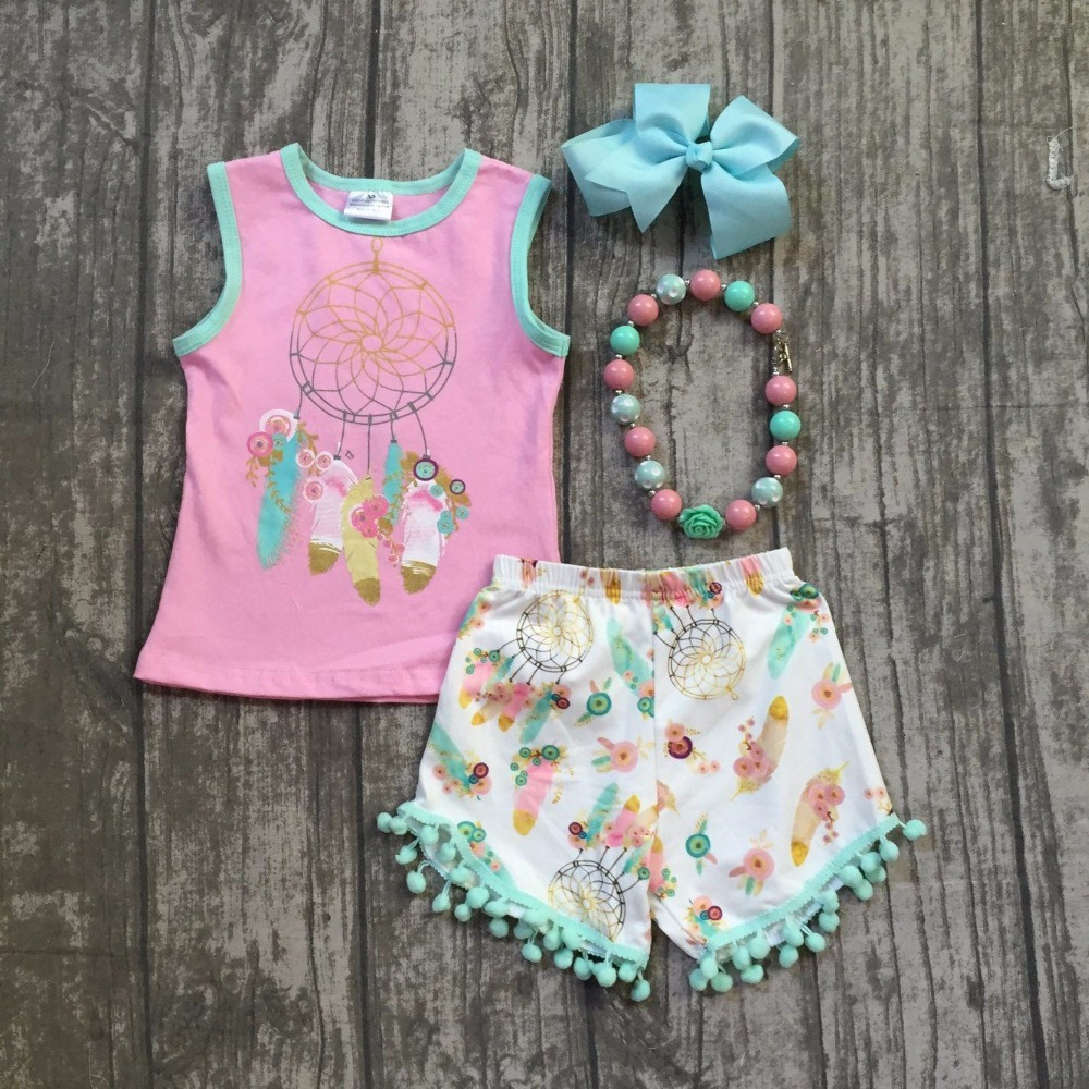 new baby girls summer clothing children dream catcher outfits girls summer top with dream catcher print shorts with accessories