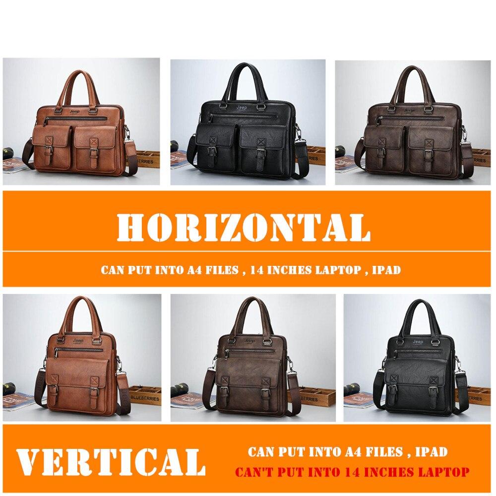 f6ae07ce15 JEEP BULUO célèbre marque nouveau Design hommes cartable sacs pour hommes  d'affaires mode Messenger sac 14 'pochette d'ordinateur 8001 dans Porte- documents ...