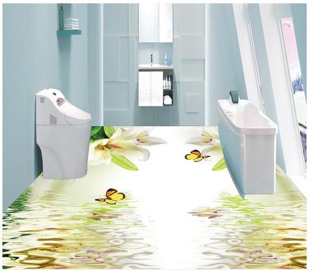 Papel pintado de suelo 3D para cuartos de baño hermoso lirio verano ...