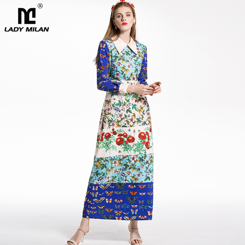 New Arrival 2018 Womens Turn Down Collar Long Sleeves Floral Printed Patchwork High Street Fashion Designer Long Dresses