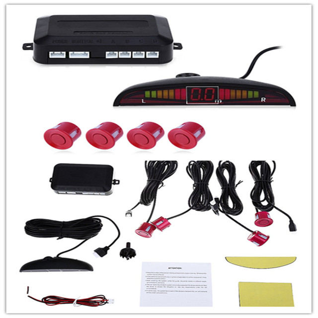 1Set Car LED Parking Sensor Kit Display 4 Sensors for all cars Reverse Assistance Backup Radar Monitor System Auto Detector LED