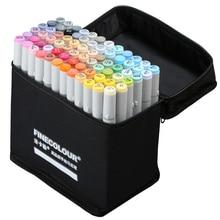 72 Pcs Set di Colori Finecolour Professionale Sketch Pennarello Inchiostro A Base di Alcool Manga Doppia Headed Marcatori Penna Per Il Disegno