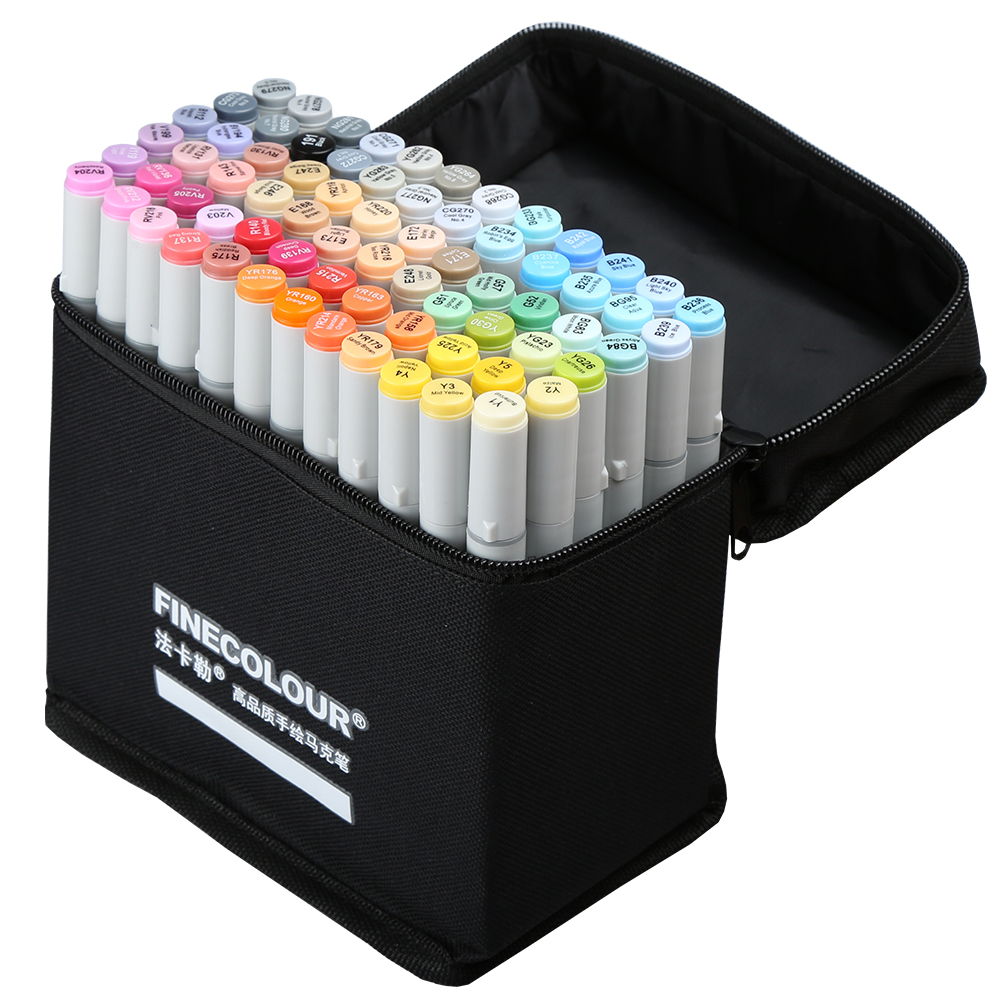 72 pces conjunto finecolour profissional esboço álcool à base de tinta marcador manga duplo headed marcadores caneta para desenho