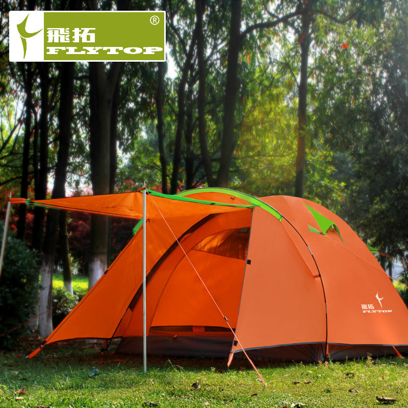 Flytop outdoor high quality double layer 3-4person waterproof windproof easy disassembly, beautiful and durable camping tent good quality flytop double layer 2 person 4 season aluminum rod outdoor camping tent topwind 2 plus with snow skirt