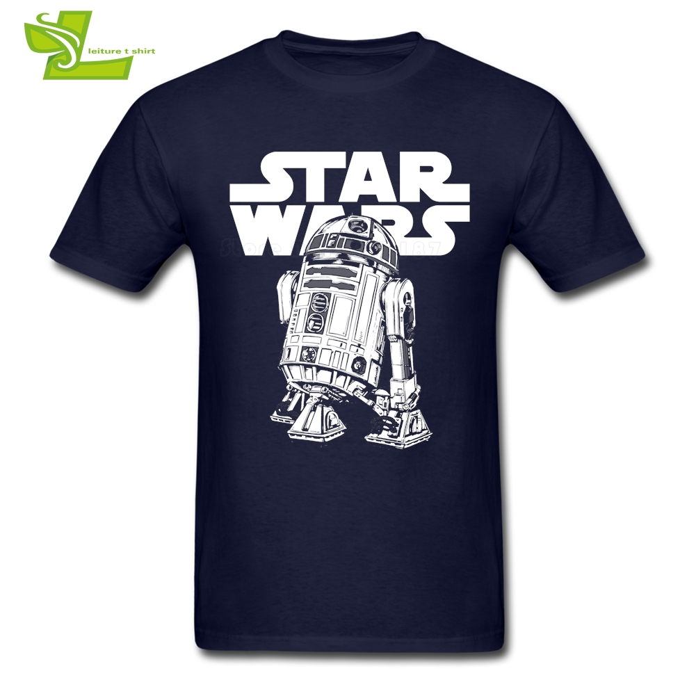 Classic R2D2 T Shirt Star Wars Men Summer 100% Cotton Graphic Tees Adult Newest Plus Size Clothing Cool Normal Guys Tee Shirt