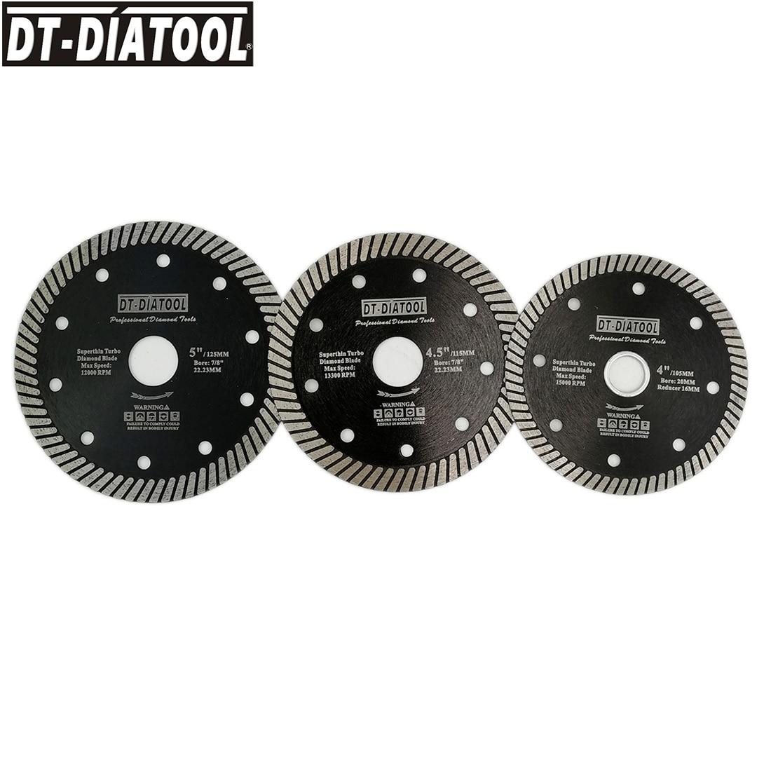 DT-DIATOOL 1pc Super-Thin Hot Pressed Turbo Diamond Saw Blade Cutting Disc Dia 105/115/125mm Cutting Wheel Marble Tile Granite