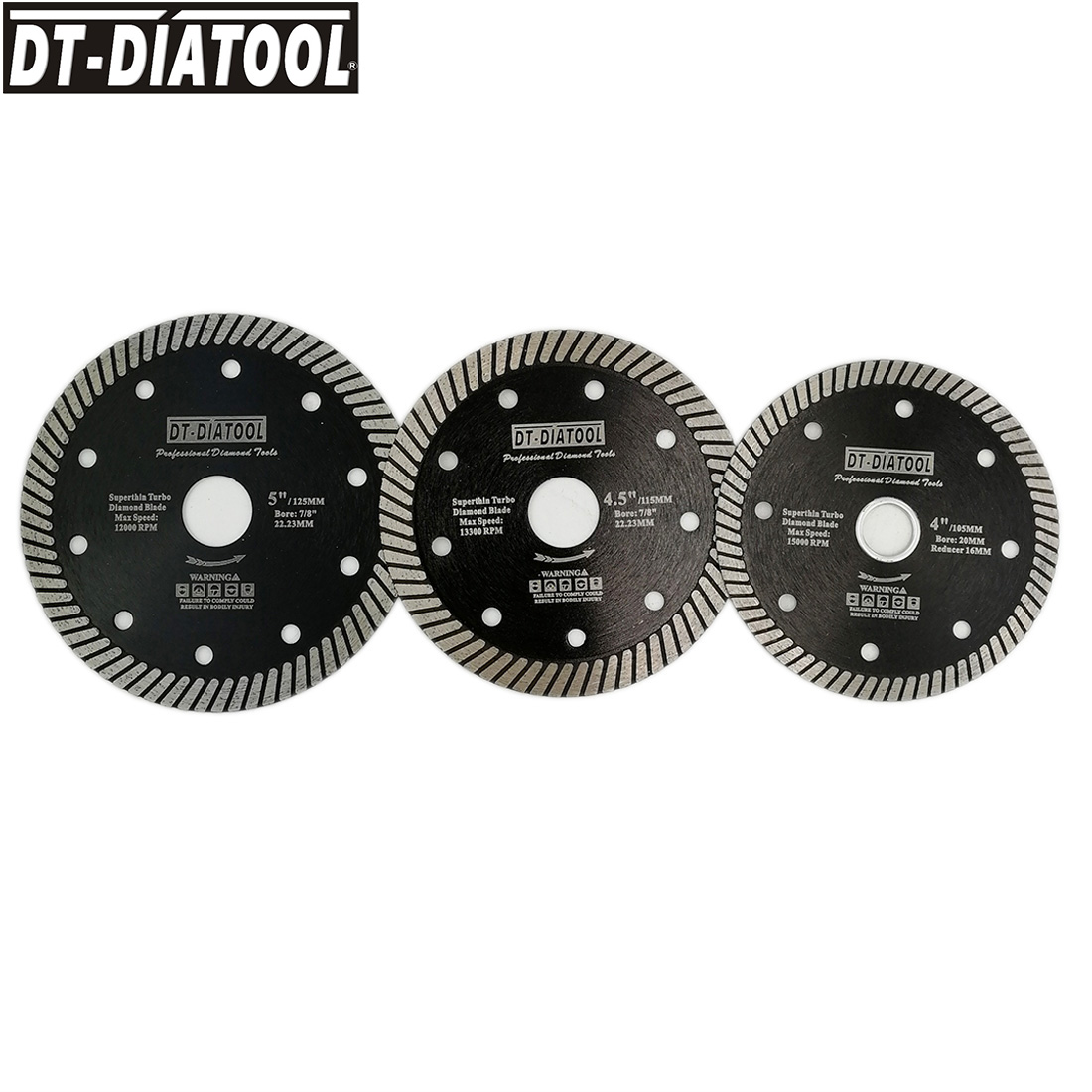 DT-DIATOOL 1pc Super-Thin Hot Pressed Turbo Diamond Saw Blade Cutting Disc Dia 105/115/125mm Cutting Wheel Marble Tile Granite