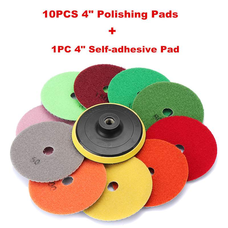 11pcs 4 inch Diamond Wet Polishing Pads Grinding Disc + 1pc Backing Pad for Granite Marble Stone Ceramic Tile Concrete Set|Hand Tool Sets| |  - title=