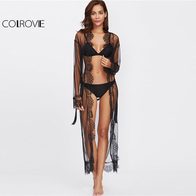 COLROVIE Eyelash Lace Trim Plus Size Mesh Robe With Belt Black Long Sleeve Ankle-length Kimono Blouse Women Sexy Sleepwear