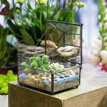 Tabletop Geometric Polyhedron Glass Terrarium Box for Succulent Plants Planter Decorative Flower Pot Bonsai FlowerPot with Cover