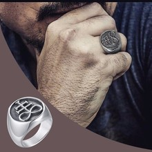 The Leviathan Cross Satanic Crosss Symbol Signet Ring for Men Stainless Steel Church of Satan Male Jewelry the satanic verses
