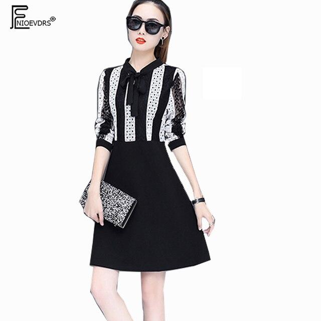 cf42b46459 Cute Sweet Dresses New Hot Women Korea Style Design 2018 Long Sleeve Bow A  Line Elegant