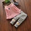2106 Autumn New Arrival Baby Girl Cloting Little Girl Cloth Suit 2 Pieces/Set Plaid Pattern Coat With Flower+Strips Trouser