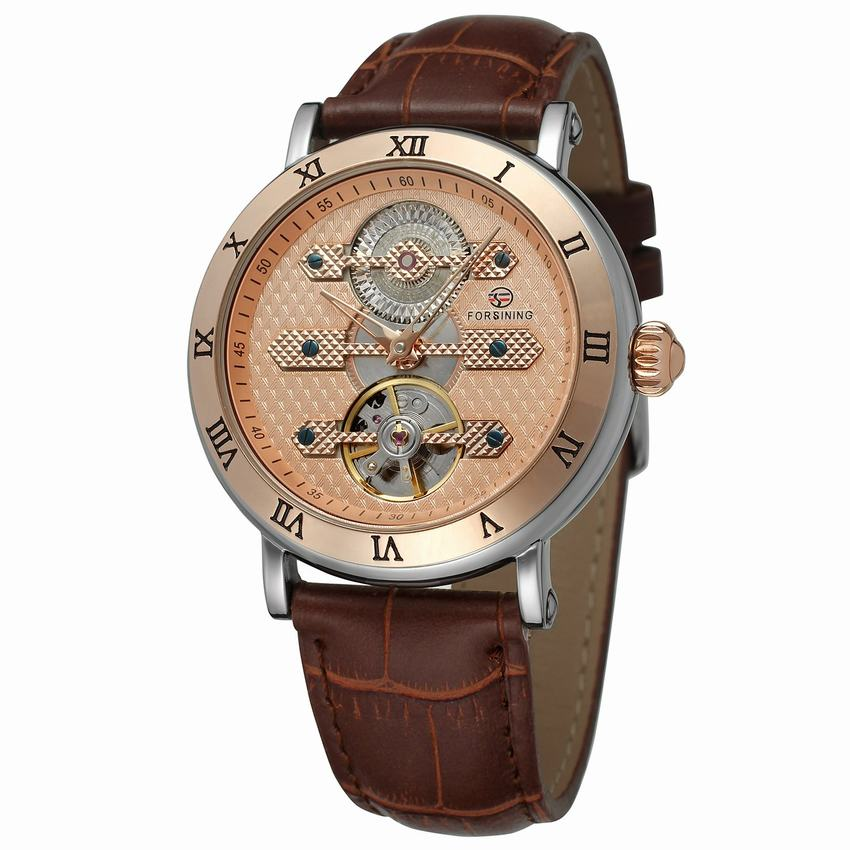 Classic Fashion Tourbillon Genuine Leather Rose Gold Dial Roman Number Case Automatic Self Wind Mechanical Watch Men Watch New ailang brand men automatic self wind watches leather skeleton tourbillon mechanical clock male rose gold shell watch new