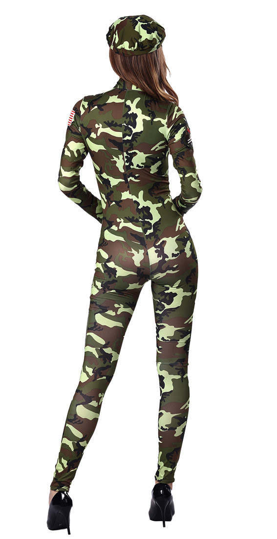 HTB1ayc1OXXXXXcQaXXXq6xXFXXXC - FREE SHIPPING Adult Sexy Army soldier Costumes Commander camouflage printed romper with long sleeves JKP283