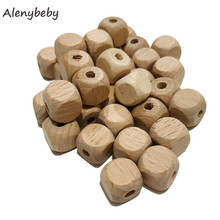 Cube Wooden Square Beads Teether 12mm Natural Beech Wood Beads For Jewelry Making DIY Baby