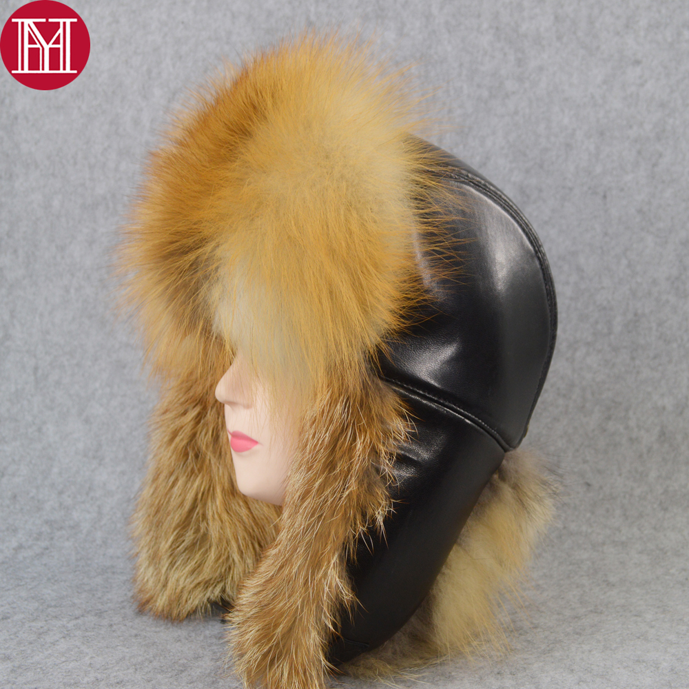 Outdoor Unisex Winter Russian Real Fox Fur Hat Warm Soft Quality Real Raccoon Fur Bombers Cap Luxury Real Sheepskin Leather Hats(China)