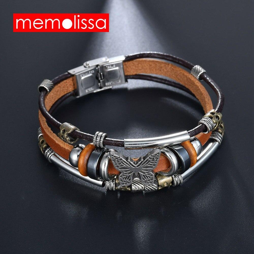 MeMolissa Jewelry Butterfly Bracelets Hot Sales Hand Made Braided buckle Fashion Style Popular Charm Leather Bracelets Bangle