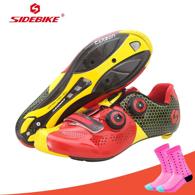 Chaussures de cyclisme professionnel Sidebike chaussures de vélo de route en Fiber de carbone chaussures de course athlétiques respirantes Sapatilha Ciclismo