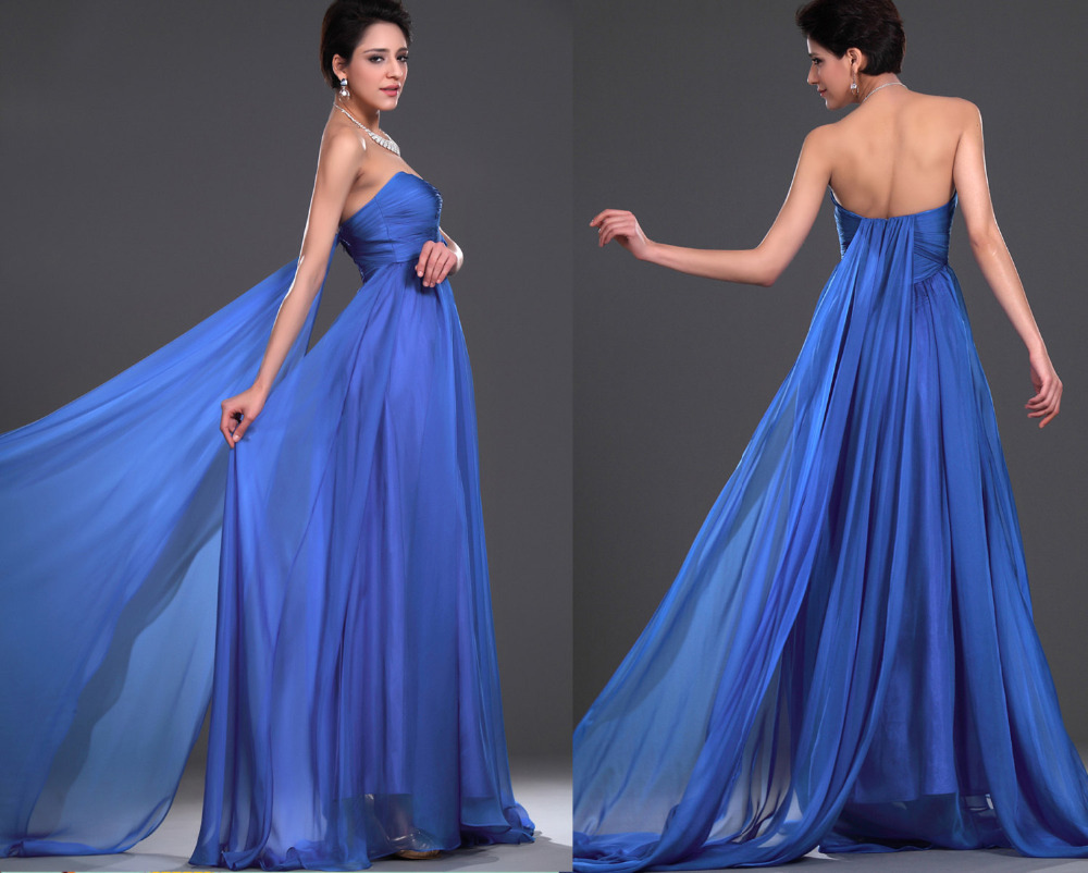2014 Fashion Sweetheart A Line Sweep Train Blue Crepe Evening Dress ...