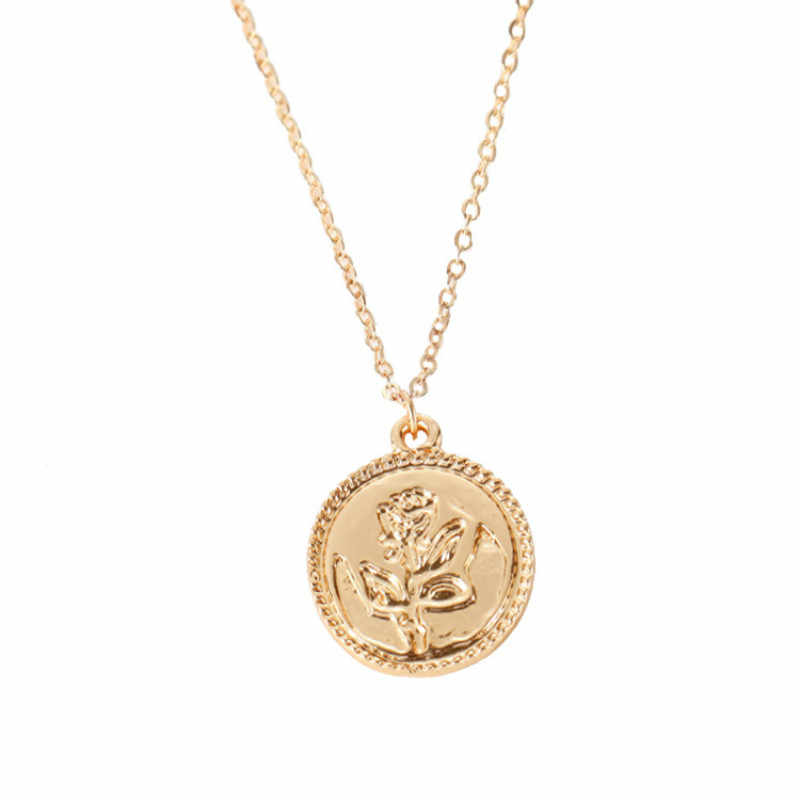 Boho Style Rose Flower Coin Layered Necklaces for Women Dainty Charms Chokers Chic Disc Pendant Necklaces Wholesale