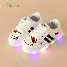 Children Srping Hello Kitty Lighted Shoes Baby Girls Striped LED Shoes Kids Casual Lovely Glowing Sneakers Toddlers Trainer C231