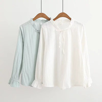 Dioufond New Long Sleeve Blouse Women Tops Solid O Neck Women Shirts Fabric Cotton Female Casual