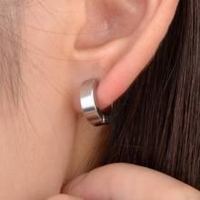 цена на 1pair Punk Men No Piercing Clip Earring Titanium Steel Round Men No Piercing Ear Cuff Wrap Black Silver Stainless Steel Earring