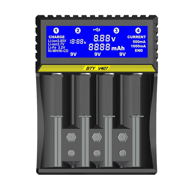 4 slot battery charger Li ion 3.7V Life 3.2V Ni MH Ni CD Smart fast  LCD 6F22 9V AA AAA 16340 14500 18650 Battery Charger
