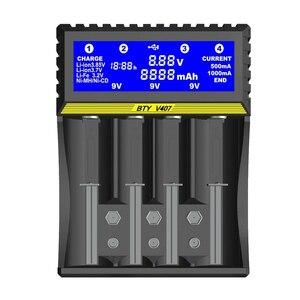 Image 1 - 4 slot de carregador de bateria 3.7V Li ion Vida 3.2V Ni MH Ni CD Inteligente rápido LCD 6F22 9V AAA AA 16340 14500 18650 Carregador de Bateria