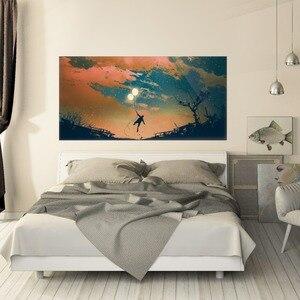 Image 4 - יפה שמיים בלון ונער קיר מדבקת מיטת ראש שינה לילדים מדבקות קיר מדבקת בית תפאורה לילדים של שינה