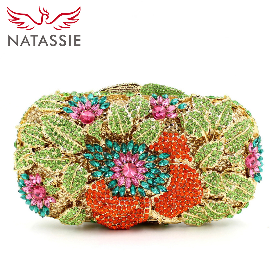 ФОТО NATASSIE High Class Luxury Crystal Clutch Bag Lady Dinner Party Bags Women Wedding Party Clutches