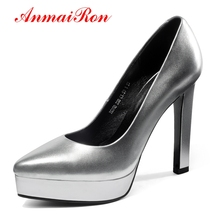 ANMAIRON Genuine Leather Pointed Toe Women Shoes High Heel Calzado Mujer Size34-39 LY350