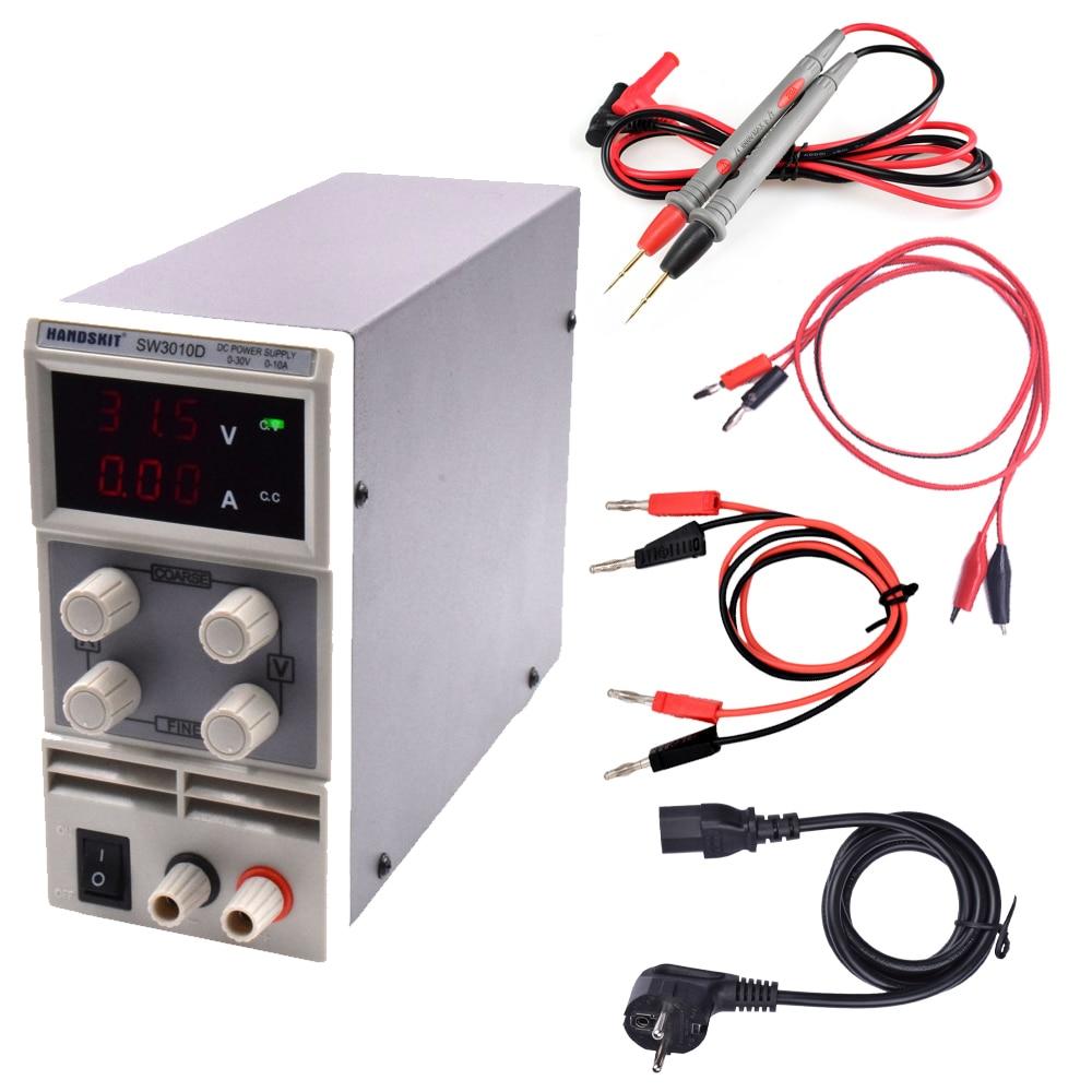 SW3010D Mini Digital DC regulator adjustable power supply 30V 10A 110V-220V voltage Switching rework station with 20A test probe cps 6011 60v 11a digital adjustable dc power supply laboratory power supply cps6011