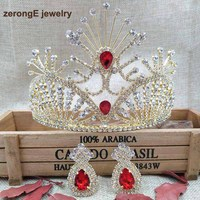 zerongE jewelry 4.1 New Women gold Red Tiara Austrian Rhinestone Hairwear comb crown with matching earring