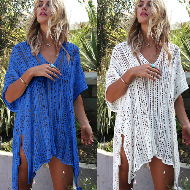 bdf284991c 2018 New Beach Cover Up Bikini Crochet Knitted Tassel Tie Beachwear Summer  Swimwuit Sexy See-through Beach Dress Bathing Suits